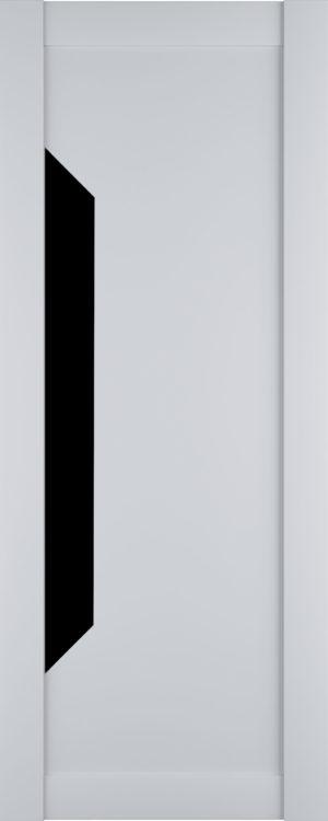 Дверь межкомнатная Престиж-1, Белый софт, Вставка: черное стекло Самострой stroi-base.ru
