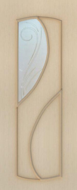 Дверь межкомнатная  ПВХ, Тип Фаина, 60, беленый дуб, витражное стекло Самострой stroi-base.ru