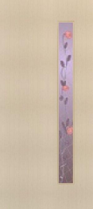 """Дверь межкомнатная  ламинированная, Тип 3, 90, беленый дуб, стекло с худ. печатью """"Роза"""" Самострой stroi-base.ru"""