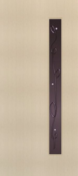 """Дверь межкомнатная  ламинированная, Тип 3, 90, беленый дуб, стекло с худ. печатью """"Лента"""" Самострой stroi-base.ru"""