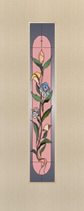 """Дверь межкомнатная  ламинированная, Тип 8, 60, беленый дуб, стекло с худ. печатью """"Цветок"""" Самострой stroi-base.ru"""