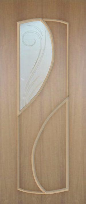 Дверь межкомнатная  ПВХ, Тип Фаина, 90, дуб классик, витражное стекло Самострой stroi-base.ru