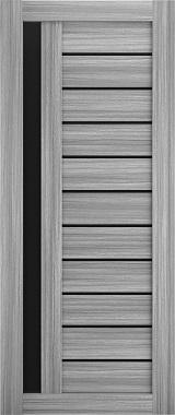 Дверь межкомнатная , Техно 14, 80, пепельный дуб, стекло черное Самострой stroi-base.ru