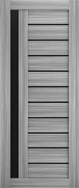 Дверь межкомнатная , Техно 14, 90, пепельный дуб, стекло черное Самострой stroi-base.ru