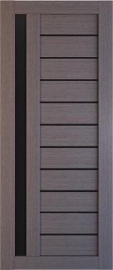 Дверь межкомнатная , Техно 14, 90, дуб серый, стекло черное Самострой stroi-base.ru