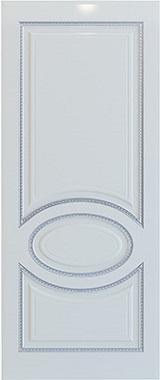Дверь межкомнатная Неаполь, Глухая, Эмаль белая/Патина серебро stroi-base.ru
