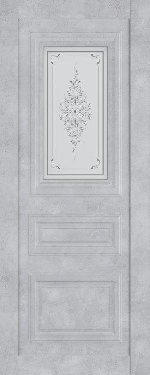 Дверь межкомнатная  Манхеттен, серия Манхеттен-1, 80, бетон серый, стекло с худ. печ. Самострой stroi-base.ru