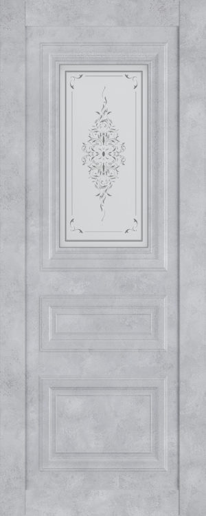Дверь межкомнатная  Манхеттен, серия Манхеттен-1, 90, бетон серый, стекло с худ. печ. Самострой stroi-base.ru