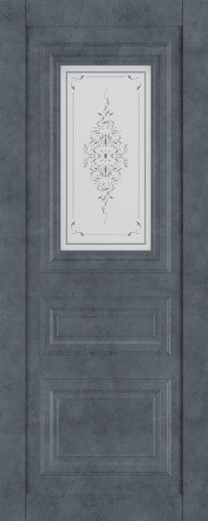 Дверь межкомнатная  Манхеттен, серия Манхеттен-1, 60, бетон графит, стекло с худ. печ. Самострой stroi-base.ru