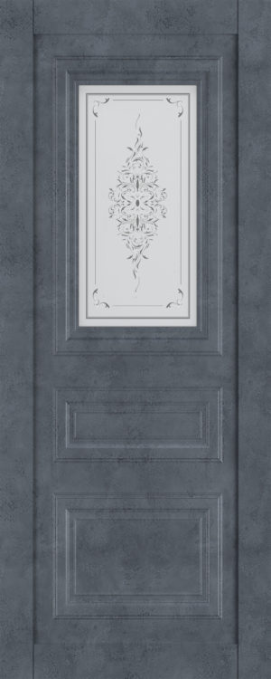 Дверь межкомнатная  Манхеттен, серия Манхеттен-1, 80, бетон графит, стекло с худ. печ. Самострой stroi-base.ru