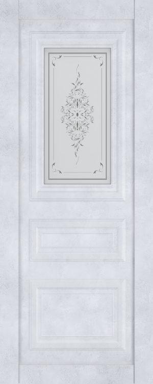 Дверь межкомнатная  Манхеттен, серия Манхеттен-1, 80, бетон снежный, стекло с худ. печ. Самострой stroi-base.ru