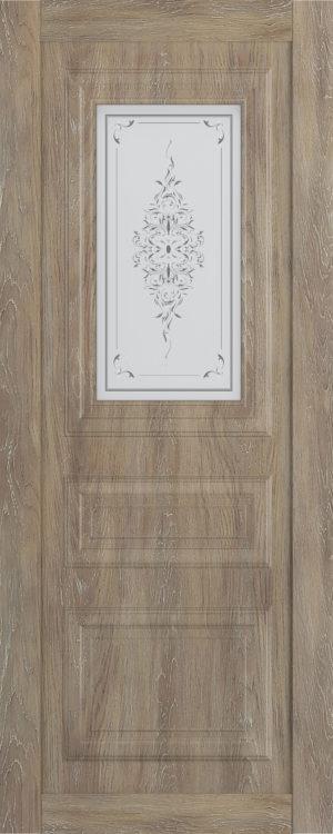 Дверь межкомнатная  Манхеттен, серия Манхеттен-1, 80, шале золотой, стекло с худ. печ. Самострой stroi-base.ru