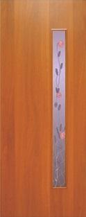 """Дверь межкомнатная  ламинированная, Тип 3, 90, итальянский орех, стекло с худ. печатью """"Роза"""" Самострой stroi-base.ru"""