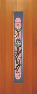 """Дверь межкомнатная  ламинированная, Тип 8, 60, итальянский орех, стекло с худ. печатью """"Цветок"""" Самострой stroi-base.ru"""