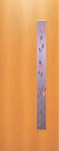 """Дверь межкомнатная  ламинированная, Тип 3, 90, миланский орех, стекло с худ. печатью """"Роза"""" Самострой stroi-base.ru"""