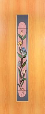 """Дверь межкомнатная  ламинированная, Тип 8, 80, миланский орех, стекло с худ. печатью """"Цветок"""" Самострой stroi-base.ru"""