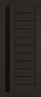 Дверь межкомнатная , Техно 14, 90, орех темный, стекло черное Самострой stroi-base.ru
