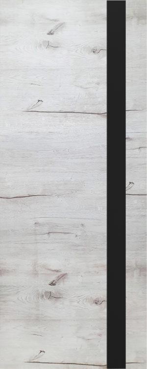Дверь межкомнатная, Royal-2, 60, дуб арктика, стекло черное (врезка 2х петель) Самострой stroi-base.ru