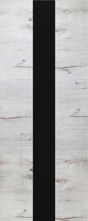 Дверь межкомнатная, Royal-3, 90, дуб арктика, стекло черное (врезка 2х петель и защелки) stroi-base.ru