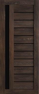 Дверь межкомнатная , Техно 14, 70, шале морёный, стекло черное Самострой stroi-base.ru