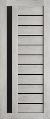 Дверь межкомнатная , Техно 14, 70, шале серый, стекло черное Самострой stroi-base.ru