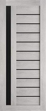 Дверь межкомнатная , Техно 14, 80, шале серый, стекло черное Самострой stroi-base.ru