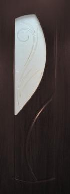 Дверь межкомнатная  ПВХ, Тип Фаина, 80, венге, витражное стекло Самострой stroi-base.ru