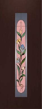 """Дверь межкомнатная  ламинированная, Тип 8, 70, венге, стекло с худ. печатью """"Цветок"""" Самострой stroi-base.ru"""