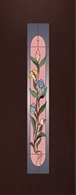 """Дверь межкомнатная  ламинированная, Тип 8, 80, венге, стекло с худ. печатью """"Цветок"""" Самострой stroi-base.ru"""