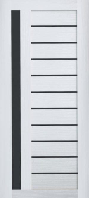 Дверь межкомнатная , Техно 14, 80, ясень белый, стекло черное Самострой stroi-base.ru