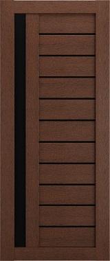 Дверь межкомнатная , Техно 14, 80, ясень коричневый, стекло черное Самострой stroi-base.ru