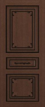 Дверь межкомнатная  с патиной, Тип Соната, 80, глухая, ясень корич./черн.пат. Самострой stroi-base.ru