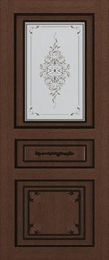Дверь межкомнатная  с патиной, Тип Соната, 80, ясень корич./черн.пат., стекло с худ. печ. Самострой stroi-base.ru
