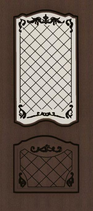 Дверь межкомнатная  с патиной, Тип Элегия, 80, ясень коричневый/черн.пат., стекло с худ. печ. Самострой stroi-base.ru
