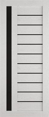 Дверь межкомнатная , Техно 14, 80, ясень серый, стекло черное Самострой stroi-base.ru