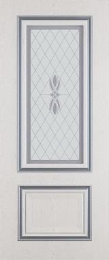 Дверь межкомнатная  с патиной, Тип Сицилия, 90, ясень серый/серебро, витражное стекло Самострой stroi-base.ru