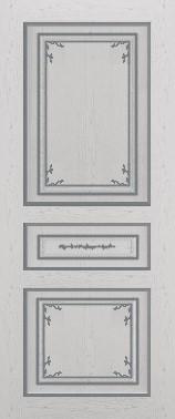 Дверь межкомнатная  с патиной, Тип Соната, 80, глухая, ясень серый/серебро Самострой stroi-base.ru