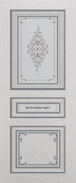 Дверь межкомнатная  с патиной, Тип Соната, 90, ясень серый/серебро, стекло с худ. печ. Самострой stroi-base.ru