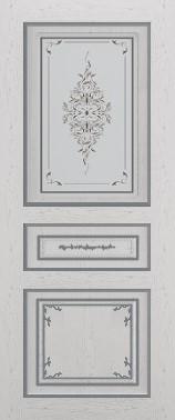 Дверь межкомнатная  с патиной, Тип Соната, 60, ясень серый/серебро, стекло с худ. печ. Самострой stroi-base.ru