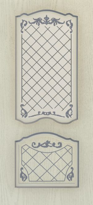 Дверь межкомнатная  с патиной, Тип Элегия, 60, ясень серый/серебро, стекло с худ. печ. Самострой stroi-base.ru