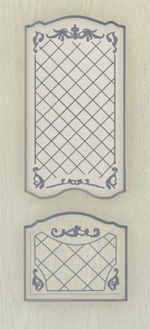 Дверь межкомнатная  с патиной, Тип Элегия, 80, ясень серый/серебро, стекло с худ. печ. Самострой stroi-base.ru