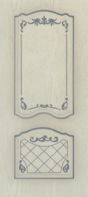 Дверь межкомнатная  с патиной, Тип Элегия, 80, глухая, ясень серый/серебро Самострой stroi-base.ru