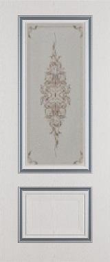 Дверь межкомнатная  с патиной, Тип Сицилия, 90, ясень серый/серебро, стекло с худ. печ. Самострой stroi-base.ru