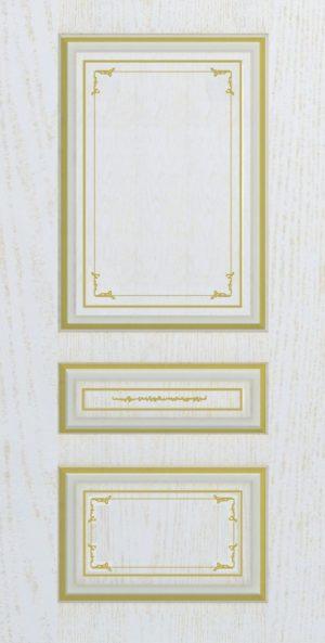 Дверь межкомнатная  с патиной, Тип Соната, 80, глухая, ясень золотой/золото Самострой stroi-base.ru