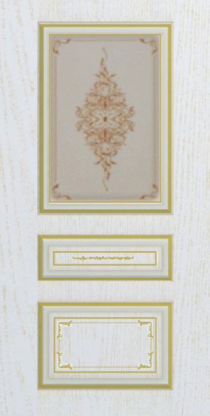 Дверь межкомнатная  с патиной, Тип Соната, 70, ясень золотой/золото, стекло с худ. печ. Самострой stroi-base.ru