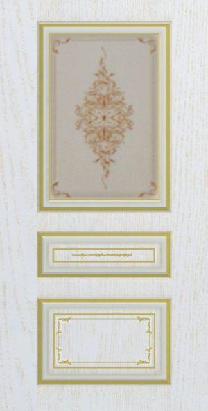 Дверь межкомнатная  с патиной, Тип Соната, 90, ясень золотой/золото, стекло с худ. печ. Самострой stroi-base.ru