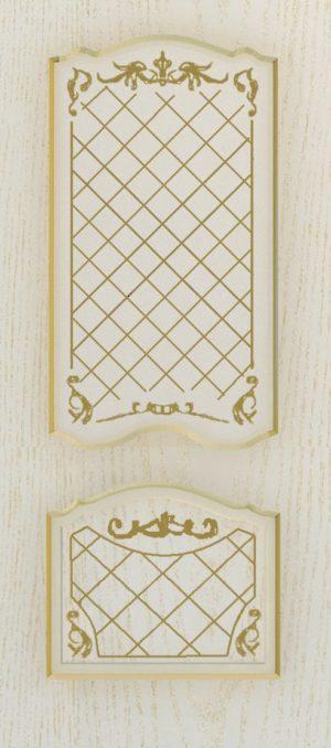 Дверь межкомнатная  с патиной, Тип Элегия, 70, ясень золотой/золото, стекло с худ. печ. Самострой stroi-base.ru