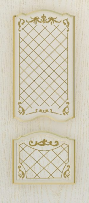 Дверь межкомнатная  с патиной, Тип Элегия, 80, ясень золотой/золото, стекло с худ. печ. Самострой stroi-base.ru