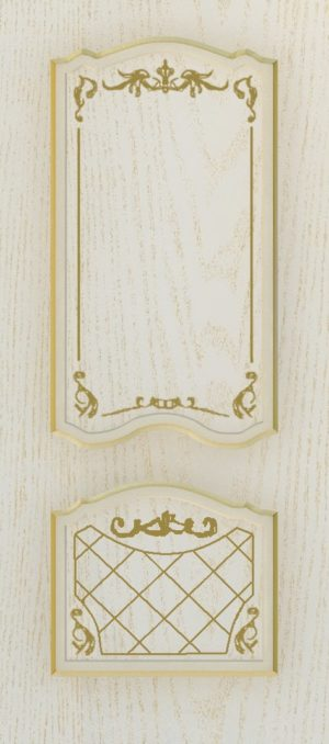 Дверь межкомнатная  с патиной, Тип Элегия, 60, глухая, ясень золотой/золото Самострой stroi-base.ru