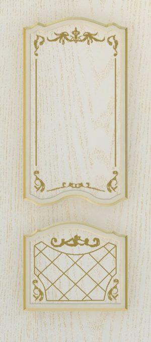 Дверь межкомнатная  с патиной, Тип Элегия, 80, глухая, ясень золотой/золото Самострой stroi-base.ru